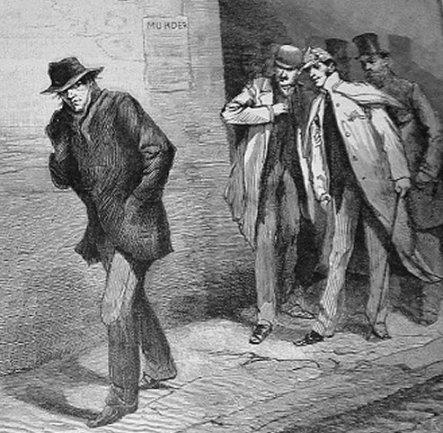 Illustrated New of London, 1888. Des policiers analysent la gestuelle d'un passant en pleine affaire Jack l'Eventreur. Notons la ressemblance avec Sherlock Holmes, personnage de littérature contemporain de Saucy Jack.