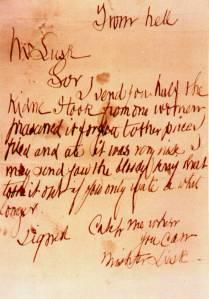 """""""From Hell"""", l'une des lettres attribuées au Ripper. Le courrier était accompagné d'un rein humain."""